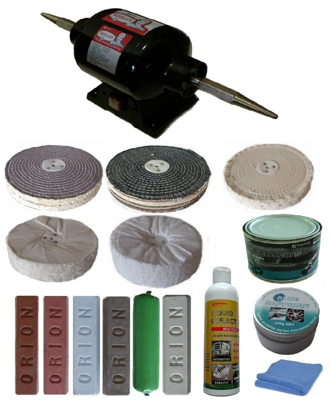 8″ 3/4hp Bench Polisher with 8 inch x 2 section Buffing Kit